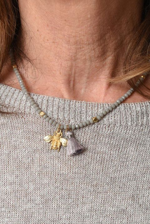 GREY AND GOLD BEE NECKLACE